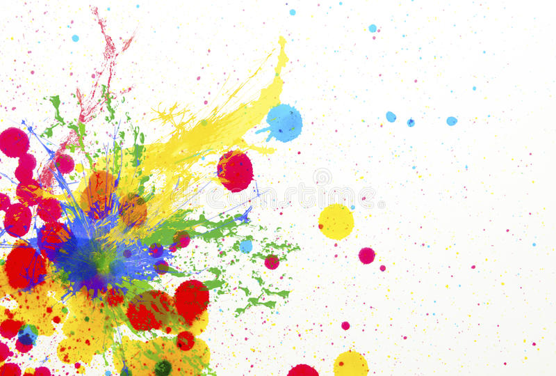 Espirro do uso da gota da cor da tinta para o fundo colorido ilustração stock