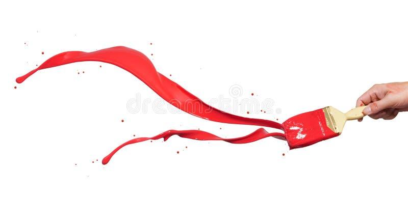 Espirro vermelho da pintura imagens de stock