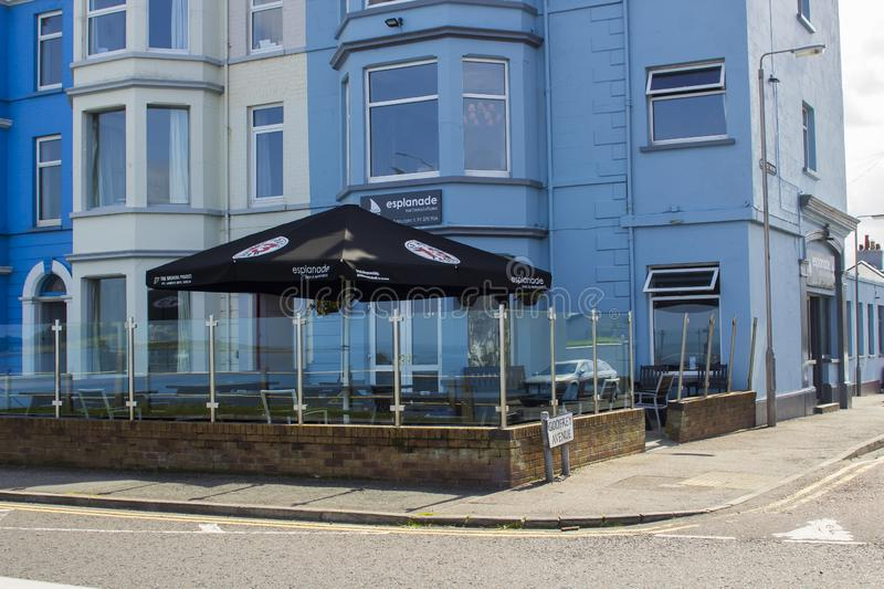 The Esplanade bar in Ballyholme Bangor Northern Ireland. 20 August 2019 The frontage of the Esplanade Bar with a large canvas canopy for outdoor dining in royalty free stock photography