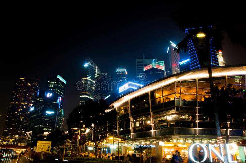 The esplanade and cityscape view at Singapore stock photo