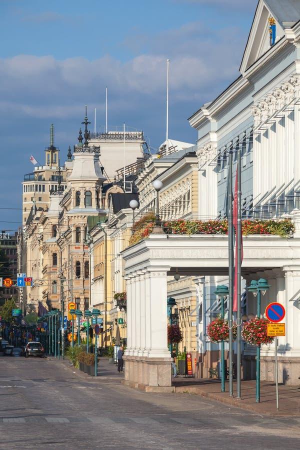 esplanade Rue au centre de Helsinki, Finlande photo stock