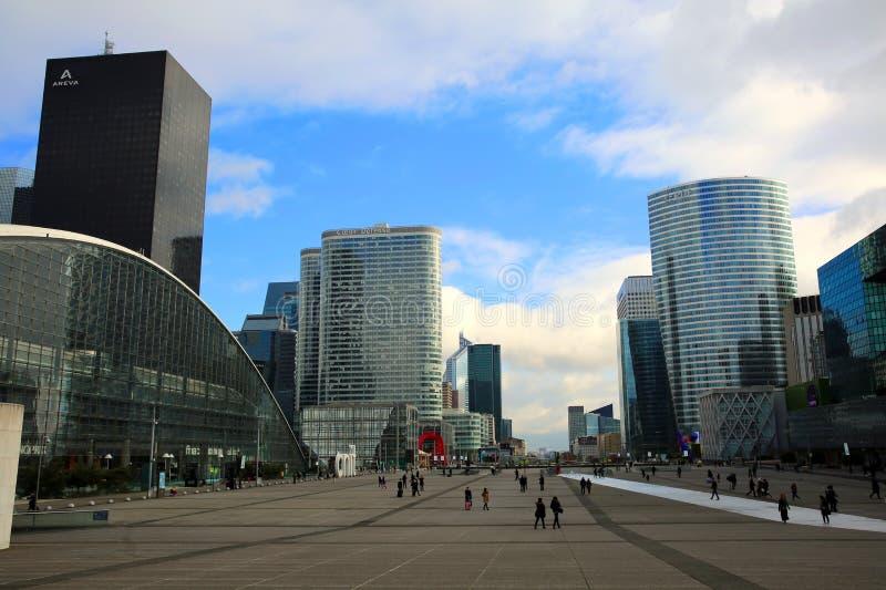 Esplanade, view from Grande Arche in Paris stock images