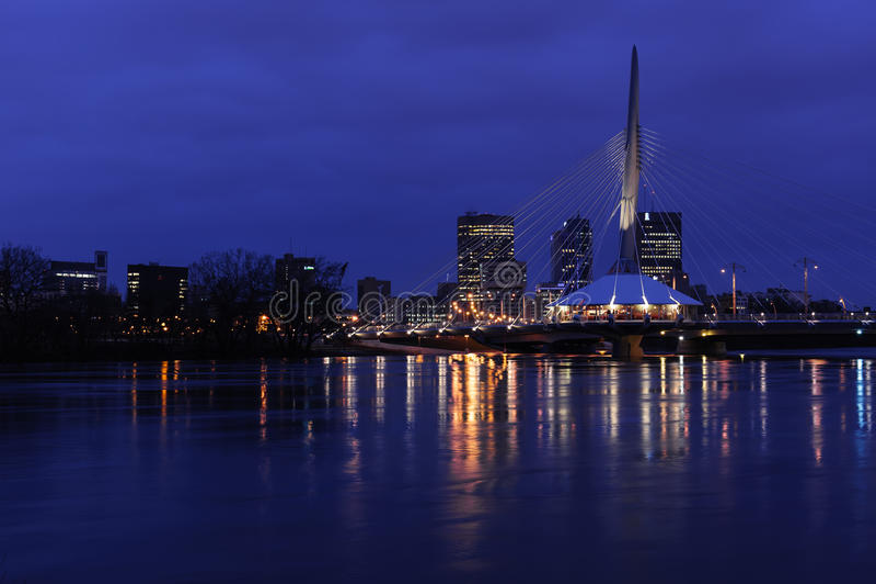 Esplanady Riel most przy nocą obraz royalty free