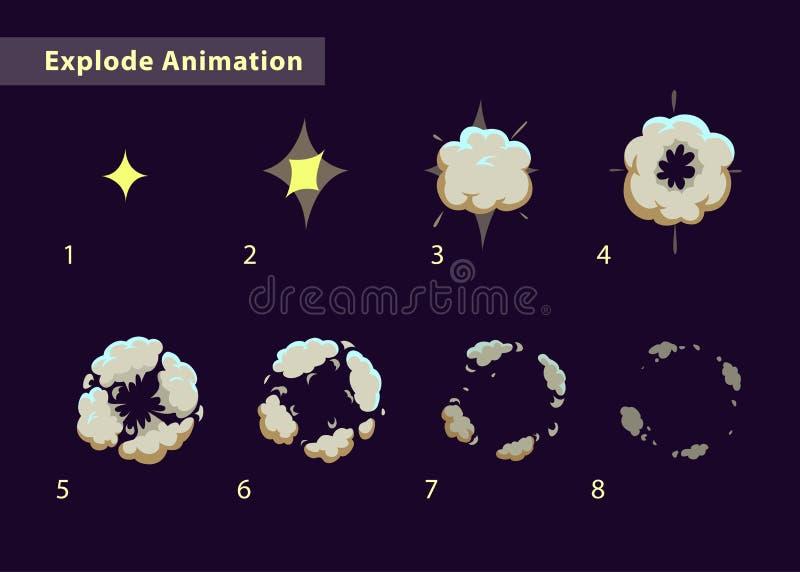 Esploda l'animazione di effetto illustrazione vettoriale
