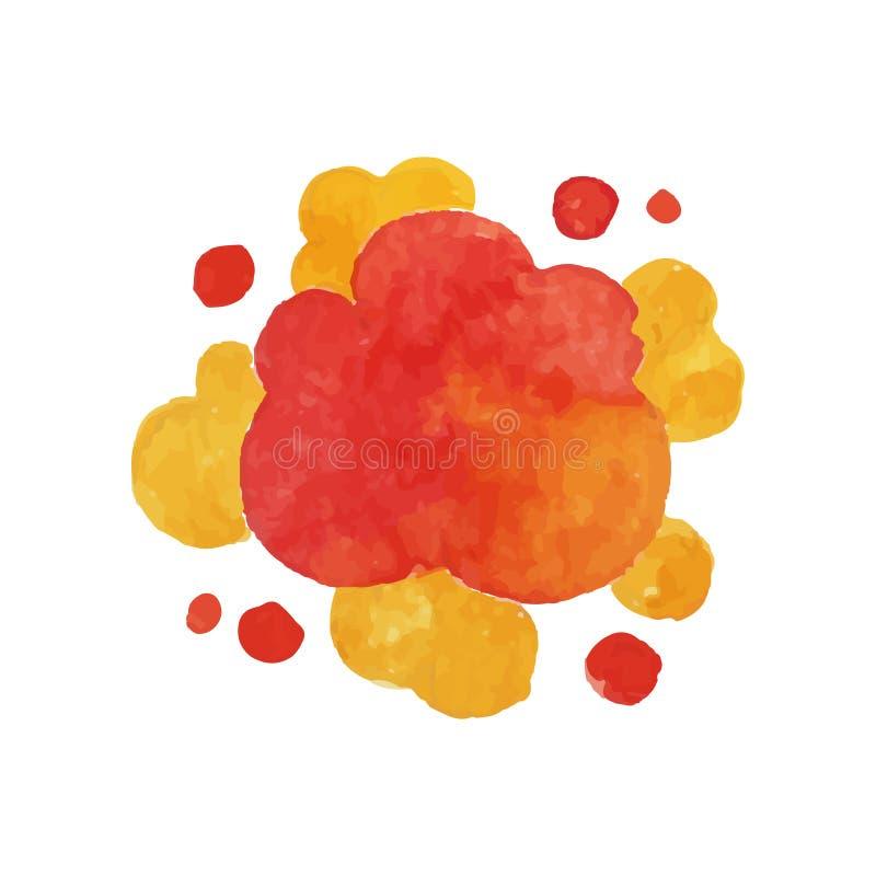 Esploda l'effetto nei colori rossi e gialli Pittura luminosa dell'acquerello della nuvola dell'esplosivo del fuoco Concetto di co illustrazione di stock
