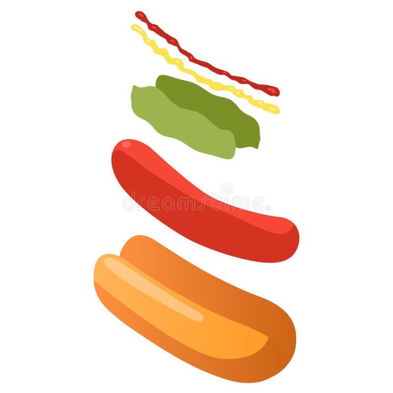 Esploda la vista isometrica degli ingredienti dell'hot dog, concetto di pasto rapido illustrazione vettoriale