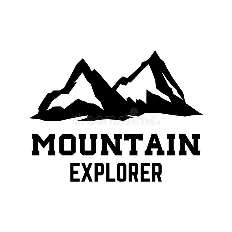 Esploratore della montagna Modello dell'emblema con il picco di montagna Progetti l'elemento per il logo, l'etichetta, l'emblema, royalty illustrazione gratis