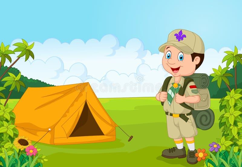 Esploratore di ragazzino del fumetto con la tenda illustrazione di stock