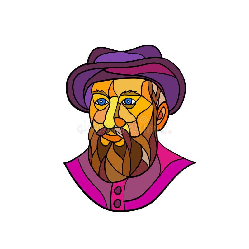 Esploratore portoghese anziano Mosaic Color illustrazione di stock
