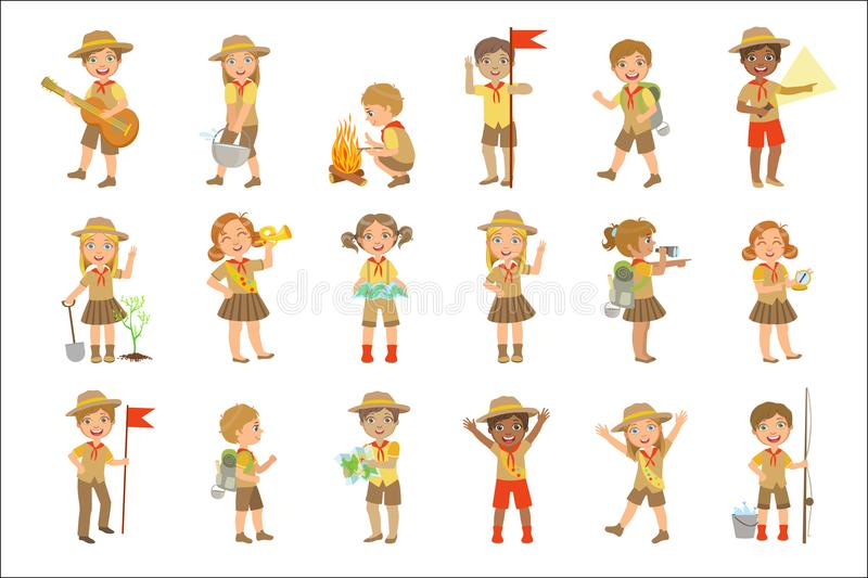Esploratori dei bambini che fanno un'escursione insieme illustrazione vettoriale