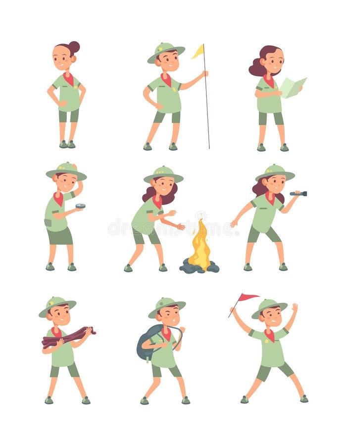 Esploratori dei bambini Bambini del fumetto in uniforme dell'esploratore nel campeggio di estate Caratteri turistici divertenti d illustrazione di stock