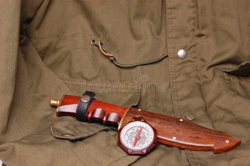 Esploratori di ragazzo dell'annata della bussola dell'america con caccia fotografie stock