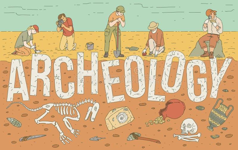 Esplorazione archeologica dell'illustrazione storica di vettore dei manufatti royalty illustrazione gratis