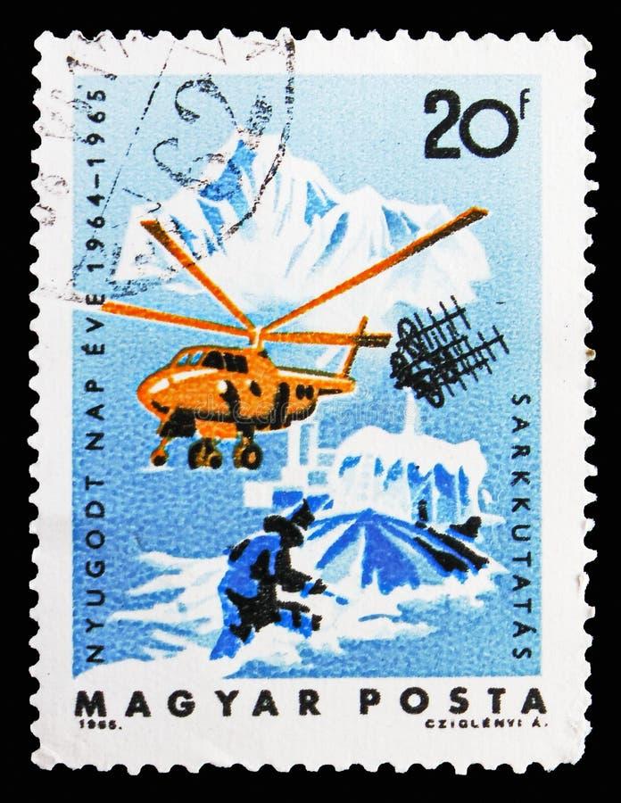 Esplorazione artica, serie calmo internazionale di anni di Sun, circa 1965 immagini stock