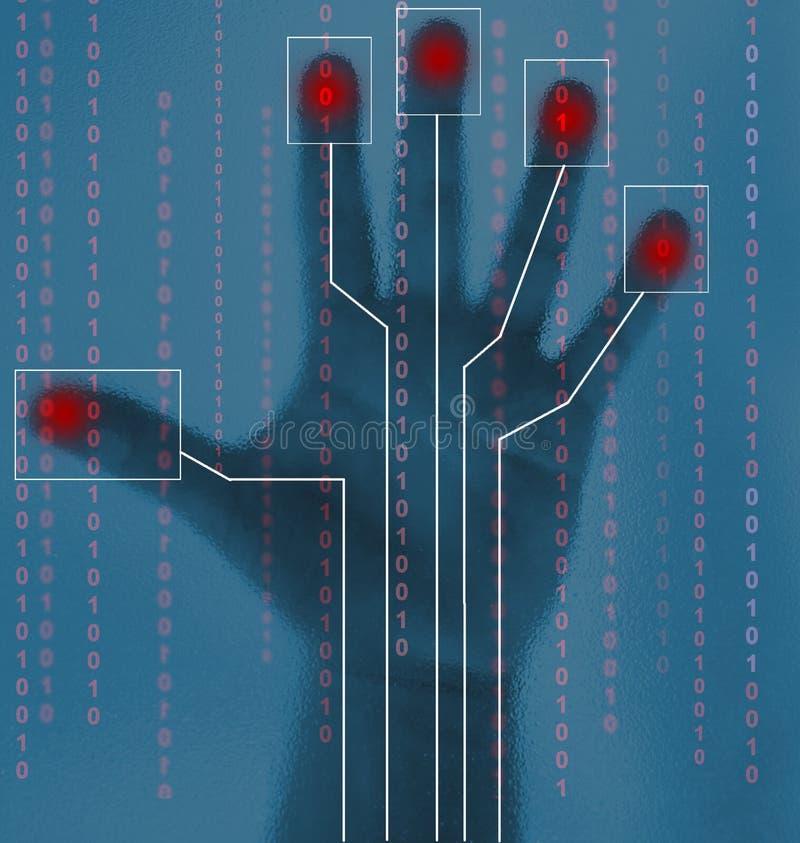 Esplorazione biometrica della mano di obbligazione illustrazione di stock