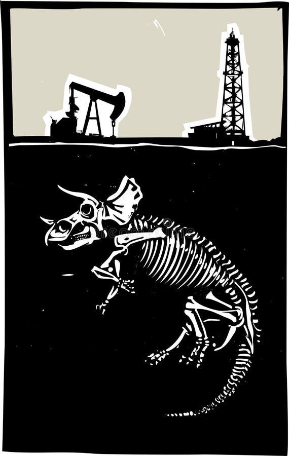Esplorazione del combustibile fossile del triceratopo illustrazione di stock