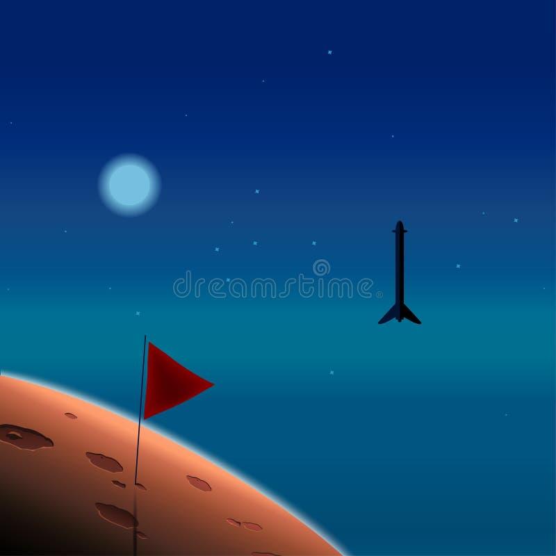 Esplorazione del pianeta Rocket nello spazio Missione a Marte Progetto di colonizzazione di Marte Illustrazione di vettore illustrazione di stock