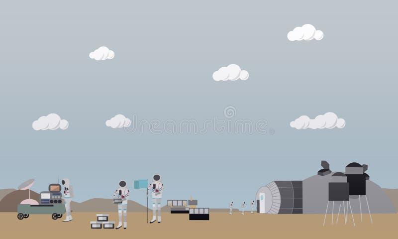 Esplorazione dell'illustrazione di vettore di concetto di Marte nello stile piano royalty illustrazione gratis