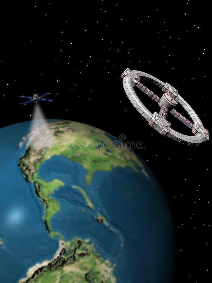 Esplorazione di spazio, stazione di spazio e satellite. illustrazione di stock