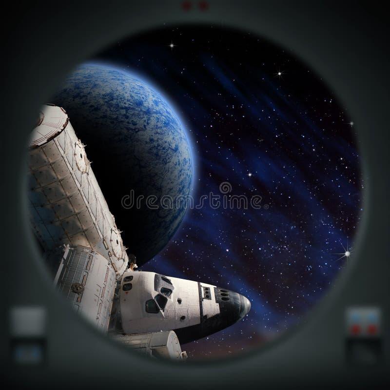 Esplorazione umana del pianeta straniero illustrazione vettoriale
