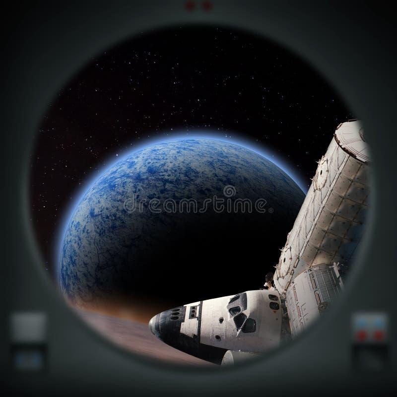 Esplorazione umana del pianeta straniero blu illustrazione vettoriale