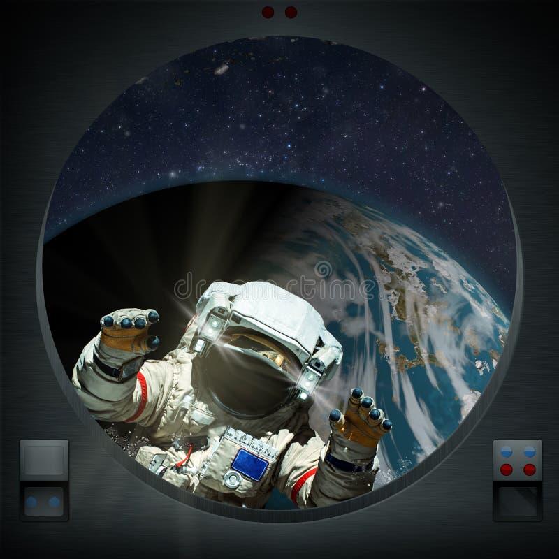 Esplorazione umana del pianeta straniero con l'astronauta illustrazione vettoriale
