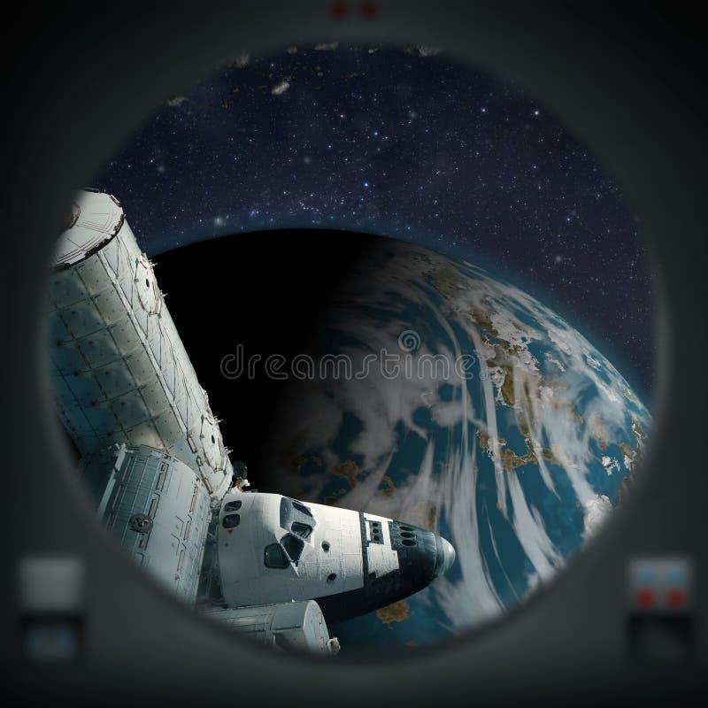 Esplorazione umana di terra blu come il pianeta straniero illustrazione di stock