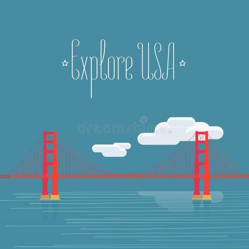 Esplori U.S.A., immagine di San Francisco con l'illustrazione di vettore di golden gate bridge royalty illustrazione gratis