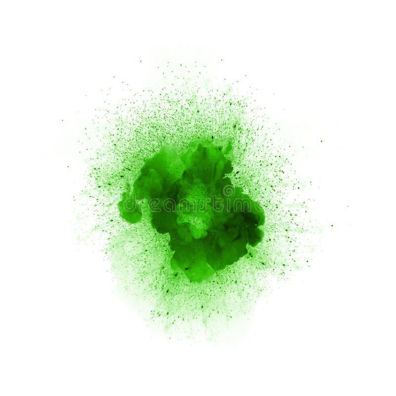 Esplosione astratta del fuoco, colore verde con le scintille royalty illustrazione gratis