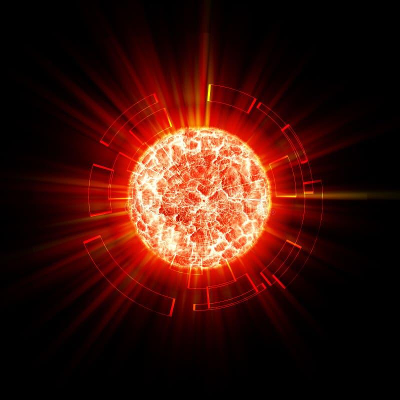 Esplosione astratta del pianeta illustrazione vettoriale