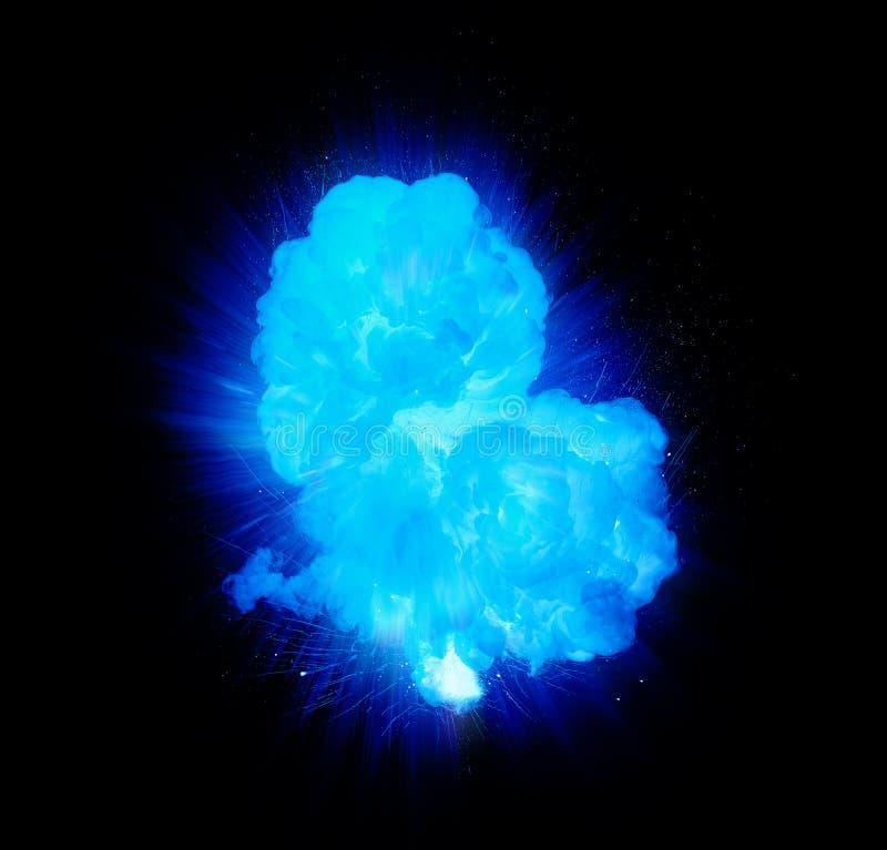 Esplosione blu realistica con le scintille ed il fumo illustrazione vettoriale