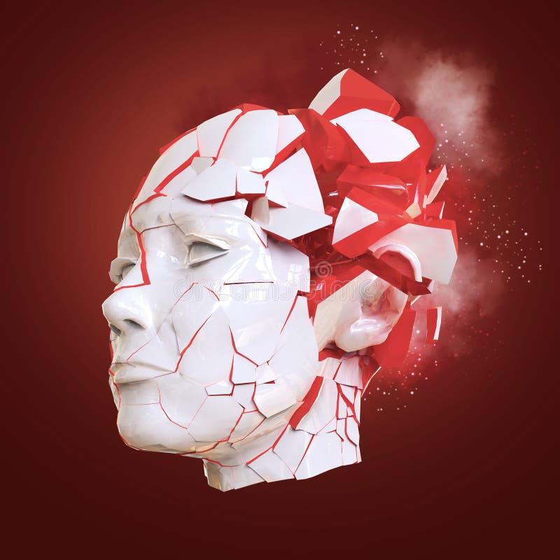 Esplosione capa della donna lucida con le imposte - emicrania, problemi mentali, sforzo illustrazione vettoriale