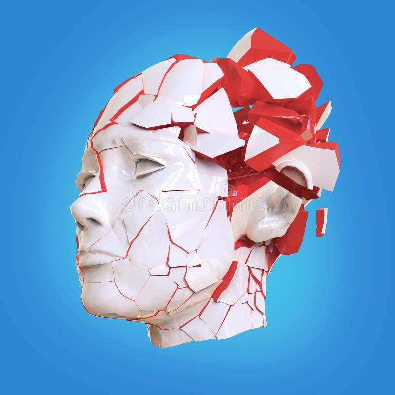 Esplosione capa della donna lucida con le imposte - emicrania, problemi mentali, sforzo illustrazione di stock