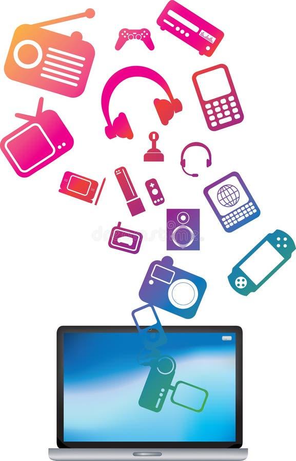 Esplosione colorata del computer portatile illustrazione di stock