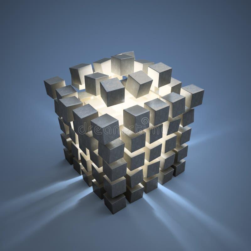 Esplosione dei cubi astratti illustrazione vettoriale