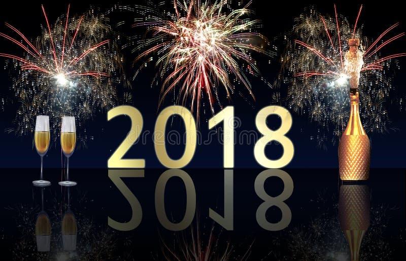 Esplosione dei fuochi d'artificio e del champagne del buon anno 2018 immagine stock libera da diritti