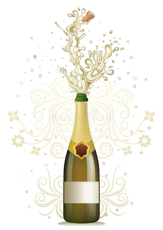 esplosione del champagne illustrazione vettoriale
