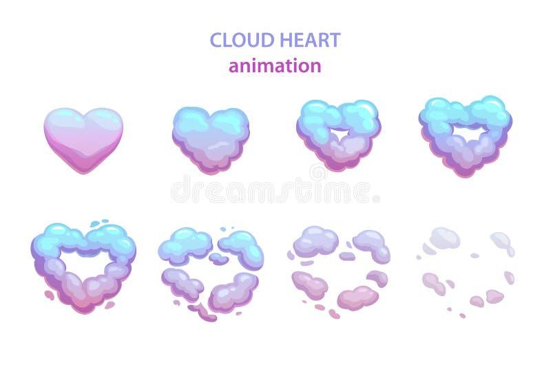 Esplosione del cuore della nuvola del fumetto illustrazione di stock