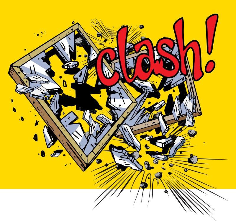Esplosione del libro di fumetti - finestre rotte illustrazione vettoriale