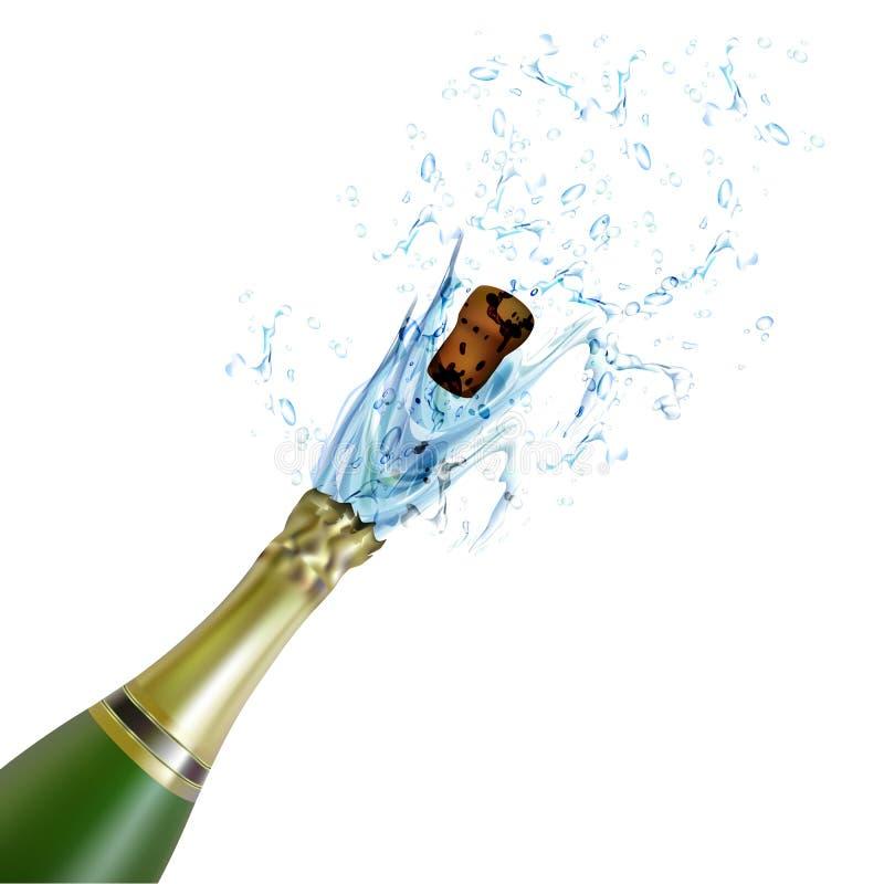 Esplosione del sughero della bottiglia del champagne illustrazione vettoriale