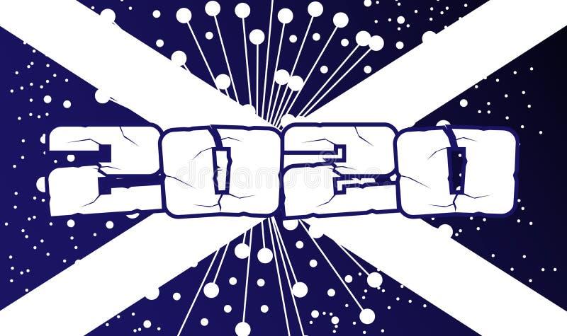 Esplosione 2020 dell'estratto della bandiera della Scozia royalty illustrazione gratis