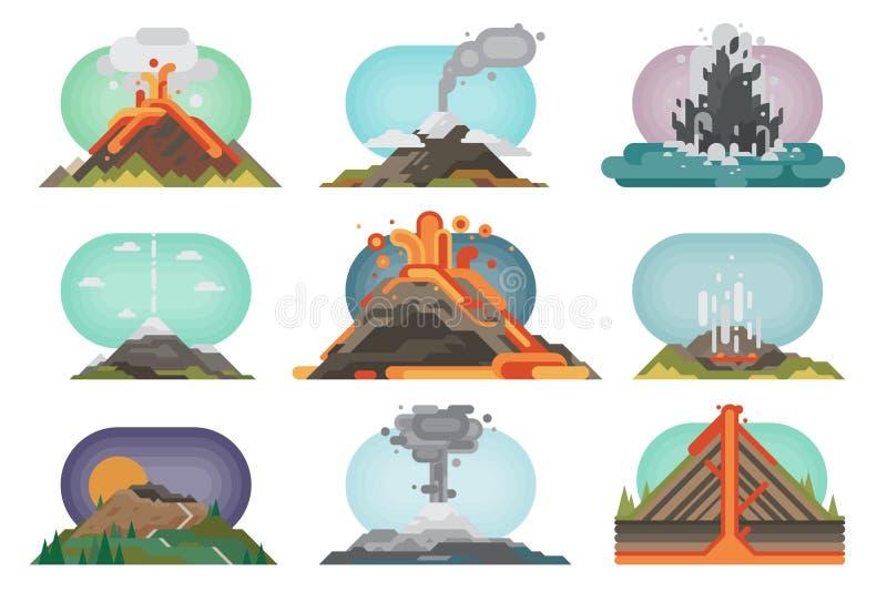 Esplosione della natura del magma del vulcano con l'illustrazione di vettore della montagna della lava di eruzione vulcanica del  illustrazione di stock