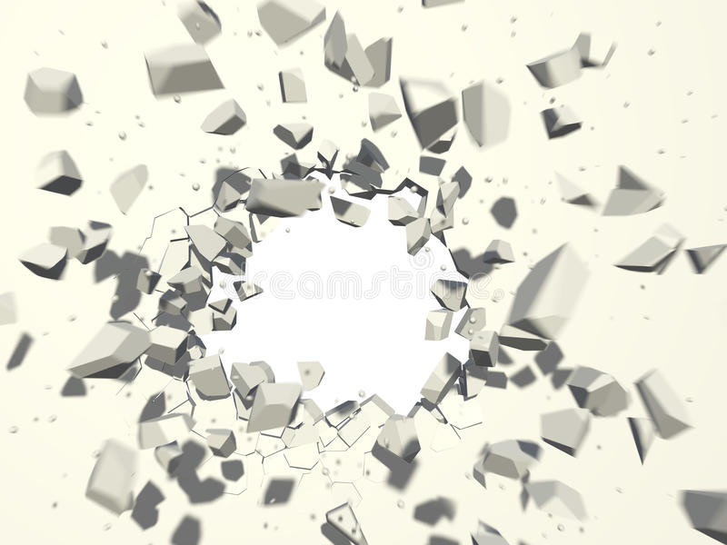 Esplosione della parete con il fondo bianco dello spazio della copia illustrazione di stock