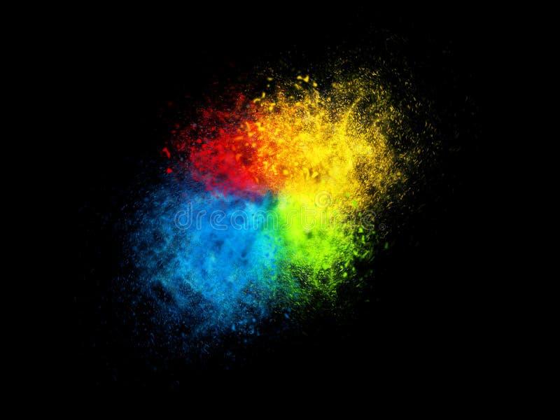 Esplosione della particelle di polvere di quattro colori illustrazione vettoriale