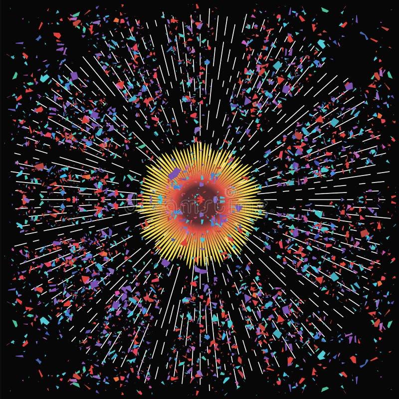 Esplosione della stella con le particelle illustrazione di stock