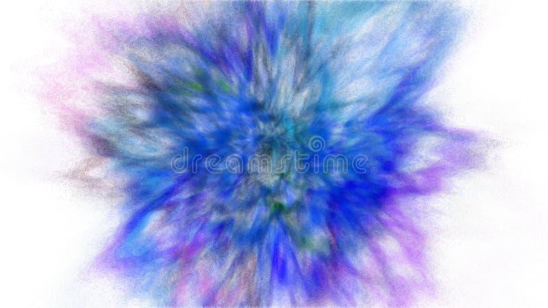 Esplosione di moto della gelata di polvere e di pittura blu, porpora e ciano per Holi fotografie stock