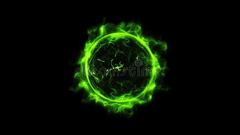 Esplosione di polvere potente d'ardore shinning di effetto della scintilla leggera dell'anello della circolare verde royalty illustrazione gratis