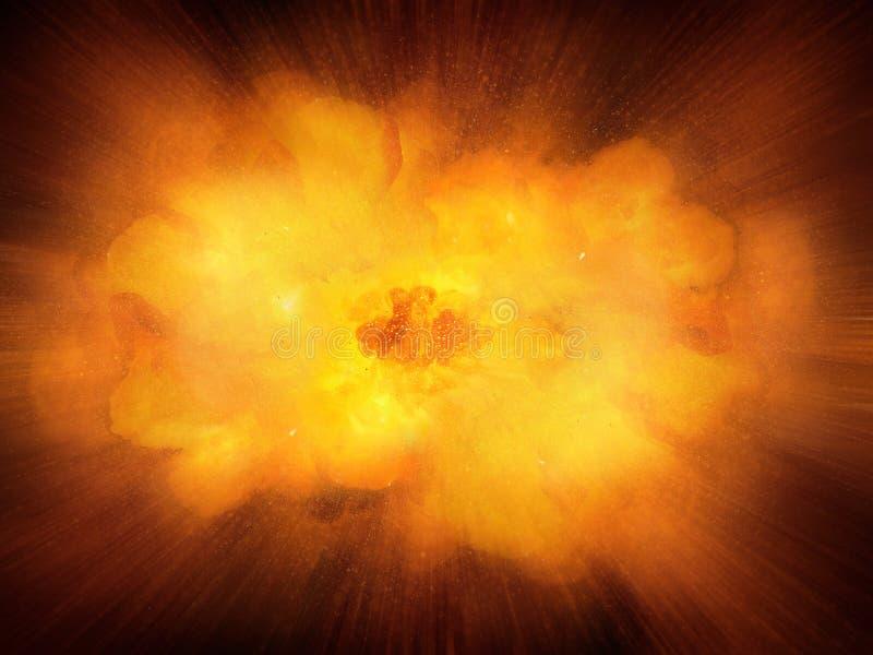 Esplosione dinamica calda realistica enorme, colore arancio con le scintille royalty illustrazione gratis