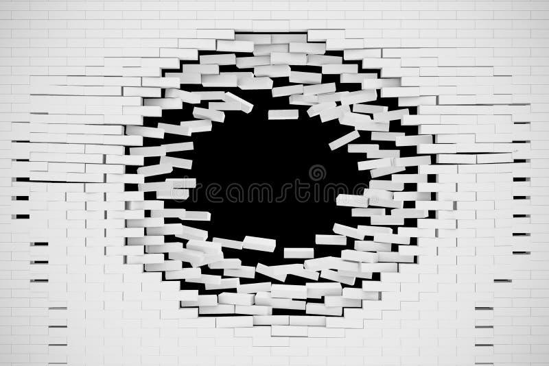 Esplosione, distruzione di un muro di mattoni bianco, fondo astratto per il modello per un contenuto illustrazione 3D illustrazione di stock