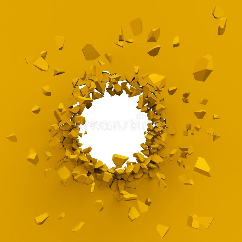 Esplosione gialla della parete con lo spazio della copia illustrazione vettoriale